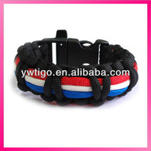 Promotional 550 paracord braided france flag bracelets