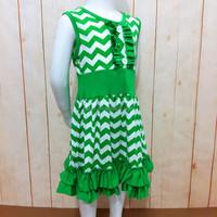 Summer new styled frock sleeveless design cotton chevron dress for baby girl
