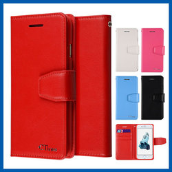 C&T Red Card Slot Magnetic Wallet Flip Genuine Leather Stand Case For Iphone 6s