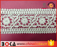 BOKA straight flower pattern crochet lace trim natural color