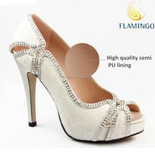 FLAMINGO 2015 ODM OEM bridal white lace wedding shoes