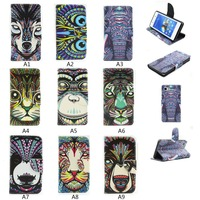 animal color printed case for iphone 5 leather flip cases with free screen protector accept drop shipping and ODM
