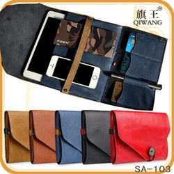 retro envelope case for ipad mini 2/3 leather phone accessories storage bag with card slot