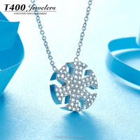 T400 fashion jewelry snow shaped pendant 925 silver necklace