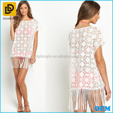 2015 new fashion semi-sheer mesh tops short sleeve lace tunic by resort