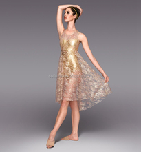 MB2015201 Stunning lace satin peplum stage gold lyrical ballet dance stage long dress