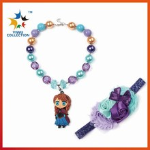 wholesale kids cartoon pendant beads Christmas Gift Chunky Bubblegum Necklace head band Bubble chunky Necklace with head bow set