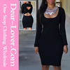 India wholesale clothing cheap Black Cut-out Back Knit vintage bodycon dress