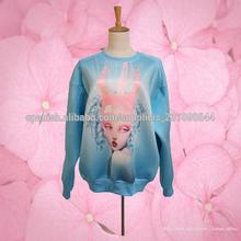 2014 venta al por mayor sexy lady impreso largo o manga- cuello azul transpirable las mujeres sudadera con capucha tops