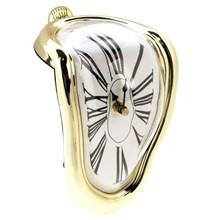 New Design Roman Numeral Novelty Distorted Retro Timepiece Art Warp Chrome Melting Quartz Irregular Clock