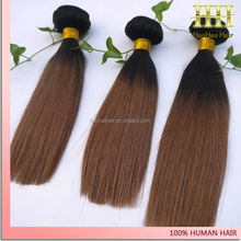 10 inch silky straight 1b/4 two tone colored hair weft human hair ombre braids