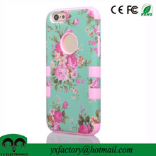 factory fancy flower pc+silicon wholesale beautiful mobile phone back cover for iphone 6
