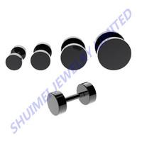 316L Stainless Steel Black Fake Cheater Screw Ear Plug Earring Stud Stretcher