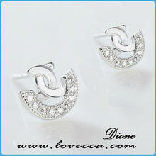 Good price wholesale women silver setting earring accessories