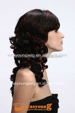 Wholesale Long curly highlight red synthetic kanekalon full lace hair wigs