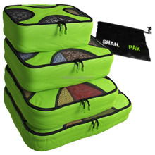 Green Fashional 4 Set Packing Cubes - Travel Organizers with Laundry