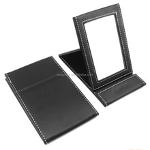 2015 fashion pu leather table stand mirror for wholesale