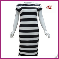 lady black and white stripe dress,classic design dress for woman