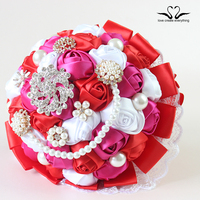 Vintage brooch Wedding bouquet Silk rose flower for birde bridesmaid wholesale artificial flower XF01