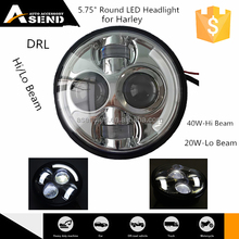 """factory 5.75 inch round LED headlight with DRL and hi lo beam for Harley motorcycle 5.6"""" led headlamp high low beam 40w 20w"""