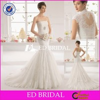 Vintage Lace Mermaid Long Train Spanish Style Wedding Dresses With High Neck