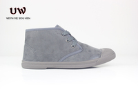 UWIN high top canvas shoes flat suede shoes ladies blue suede shoes