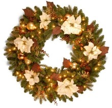 Christmas Led Battery Operated Wreaths With Yellow Flower