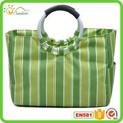 Fashionable girls metallic glitter heart logo PU leather shopping bag