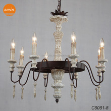 Creative antique white solid wood chandelier,retro rustic wrought iron pendant light in living room,dining room