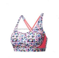 Wholesale OEM digital printing sport bra / sublimation printing fabric sports bra
