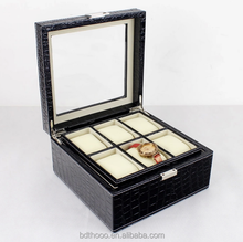 High end fashion style leather covered wooden watch box luxury watch box welcome your concept