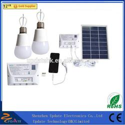 Portable Solar Powered Solar Panel Lighting Kit Solar Home DC System Kit with 2 LED Light Bulb
