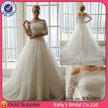 Detachable 3/4 sleeves french lace wedding dress 2014