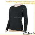 compressão manga longa camisa de treino de mulheres desgaste da aptidão de compressão camada de base