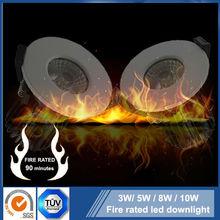 Fire check 3W 5W 7W 10W Sharp /Bridgelux IP65 COB Satin brushed stainless steel /Nickel/ Chrome finish led downlight