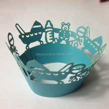 Wholesale laser cutting baby shower baby born favor customized wedding paper cupcake wrappers