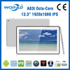 China OEM tablet 13.3 inch tablet pc, front speaker tablet android, 1920*1080 IPS android mid tablet free games download