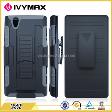 IVYMAX wholesales combo case rubbrized flip hard shell cover for zte z970 robot case