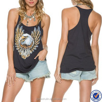 fitness clothes tank tops china custom tank tops gym eagle print tank tops with built in bra