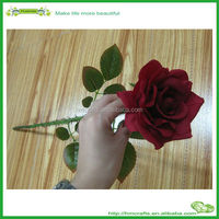 Long stem Velvet red Artificial rose flower handmade