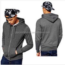 65% cotton 35% polyester custom heather grey plain zip hoodies men