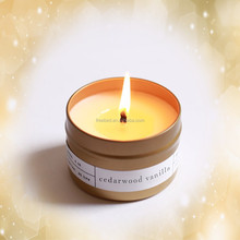 Cedarwood Vanilla Scented Soy Gift Candles in Tin