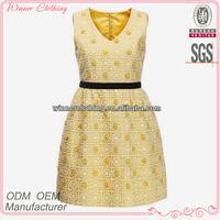 Popular summer yellow sleeveless -neck short applique work designs for dresses