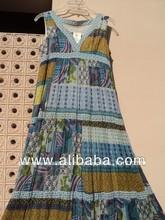 impressão étnica tecidos de algodão voile feito patch impressão longos vestidos das mulheres
