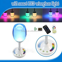 2.4G win cup led cute light for bar, RGBWW romantic color change led light, recharge touch control color ring led wine light