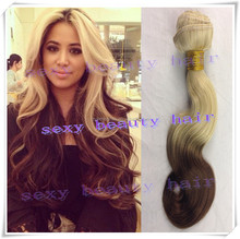 cheap 6A virgin brazilian human hair ombre body wave color 613 4 blonde brown two 2 tone hair weaving extensions