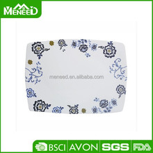 Fashion home used printed eating plate, embroider design melamine plates kitchen