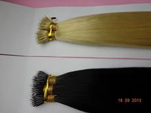 Black and Blond double drawn Nano Ring Hair Double Drawn russian remy hair extensions