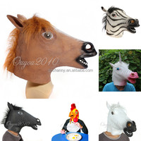 Special Offer New Eco-friendly Rubber Unicorn Horned Horse Head Mask Creepy Halloween Costume Theater Latex Mask Free Shipping