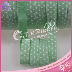 """5/8"""" white polka dots printed elastic ribbon mint color dress accessories factory OEM service"""